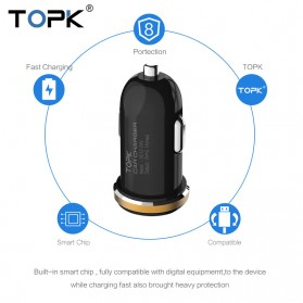 TOPK Car Charger 2 USB Port 2.1A with Micro USB Cable - Black - 5