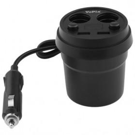 YOPIN Car Charger 2 USB Port 2.4A + Cigarette Plug 2 Slot - Black