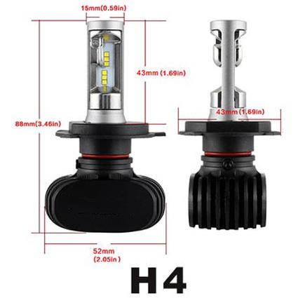 2 X Nighteye H4 LED Car Headlight Kit Light Lamp 8000LM 50W Fog Bulbs Beam
