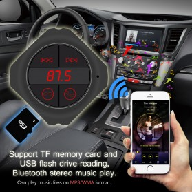 CarQ7s Handsfree Bluetooth Audio Receiver FM Transmitter with USB Car Charger - Q7s - Black - 2