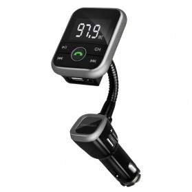 Handsfree Bluetooth Audio Receiver FM Transmitter 1 USB Car Charger - Black