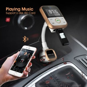 Handsfree Bluetooth Audio Receiver FM Transmitter 1 USB Car Charger - Black - 5