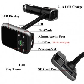 Handsfree Bluetooth Audio Receiver FM Transmitter 1 USB Car Charger - Black - 6