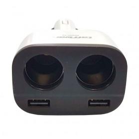 Taffware Dual USB Car Charger 2 Port dengan 2 Cigarette Plug - T2 - White - 3
