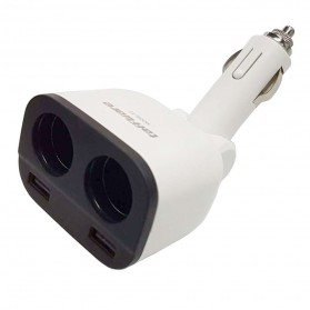 Taffware Dual USB Car Charger 2 Port dengan 2 Cigarette Plug - T2 - White