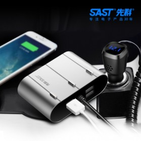 SAST Car Charger 4 USB Port 4.8A dengan 3 Socket Cigarette Plug - AY-T58 - Silver - 3