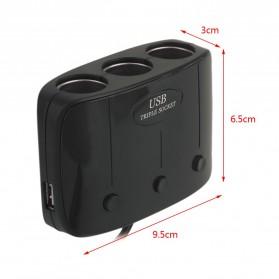 USB Car Charger 2 3.1A Port dengan 3 Cigarette Plug 120W - Black - 4