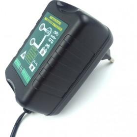 GKS Charger Aki Mobil Motor 4-Stage Deep Cycle Lead Acid Battery Charger 12V/6V 1.5A - 84V15Ah - Black - 3