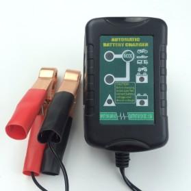 GKS Charger Aki Mobil Motor 4-Stage Deep Cycle Lead Acid Battery Charger 12V/6V 1.5A - 84V15Ah - Black - 4