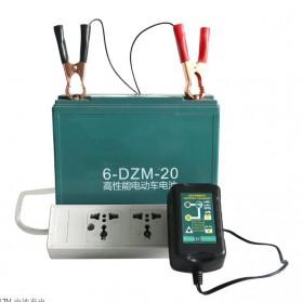 GKS Charger Aki Mobil Motor 4-Stage Deep Cycle Lead Acid Battery Charger 12V/6V 1.5A - 84V15Ah - Black - 10