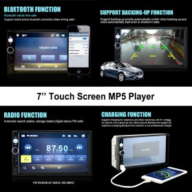 MP5 Media Player Monitor Mobil LCD Touchscreen 7 Inch with Rear View Camera - Black - 2