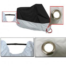 Sarung Penutup Motor Bahan Parasut Waterproof Size M (200 x 90 x 100 CM) - Black/Silver - 3