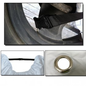 Sarung Penutup Motor Bahan Parasut Waterproof Size M (200 x 90 x 100 CM) - Black/Silver - 4