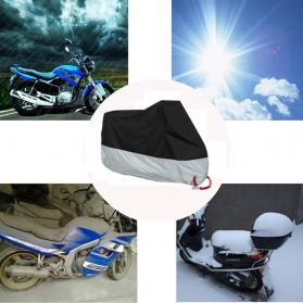 Sarung Penutup Motor Bahan Parasut Waterproof Size M (200 x 90 x 100 CM) - Black/Silver - 5