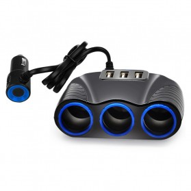 USB Car Charger 3 Port 3.1A dengan 3 Cigarette Plug 120W - RB4 - Black