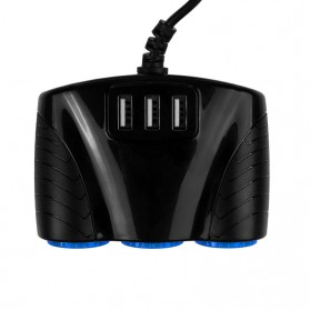 USB Car Charger 3 Port 3.1A dengan 3 Cigarette Plug 120W - RB4 - Black - 2