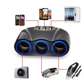 USB Car Charger 3 Port 3.1A dengan 3 Cigarette Plug 120W - RB4 - Black - 4