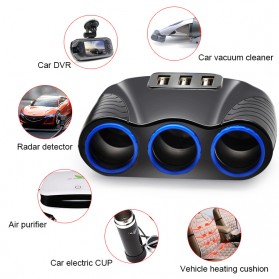 USB Car Charger 3 Port 3.1A dengan 3 Cigarette Plug 120W - RB4 - Black - 5