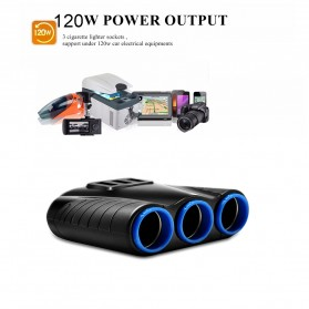 USB Car Charger 3 Port 3.1A dengan 3 Cigarette Plug 120W - RB4 - Black - 8