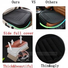 Cover Jok Kursi Mobil Universal Bahan Kulit - Back Seat 1 Set - Black - 6