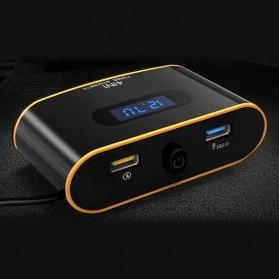 USB Car Charger 2 USB Port 4.8A QC3.0 dengan 3 Cigarette Plug 120W - Black