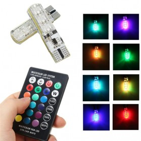 Lampu LED RGB Mobil T10 6 SMD 5050 2W 12V 2 PCS + Remote Control - Multi-Color