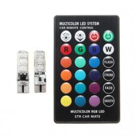 Lampu LED RGB Mobil T10 6 SMD 5050 2W 12V 2 PCS + Remote Control - Multi-Color - 2