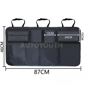 KAWOSEN Organizer Bagasi Mobil Kursi Belakang Backseat Storage Bag - OX01 - Black - 2