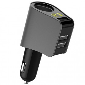 Car Charger 3 USB Port 3.1A with Cigarette Plug & LCD Display - HY10 - Gray