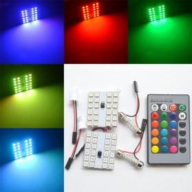 Lampu LED RGB 5050 24 SMD Panel Mobil dengan Remot - T10 - White