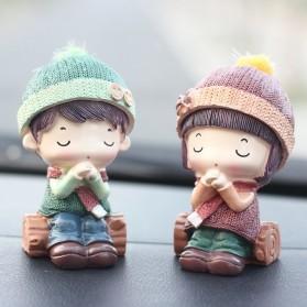 Dekorasi Mobil Ornament Cute Small Couple - Wishing Doll - Mix Color