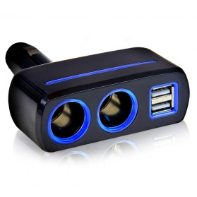 Car Charger Cigarette 2 Socket with 2 USB 5V 23.1A - SW-1918 - Black