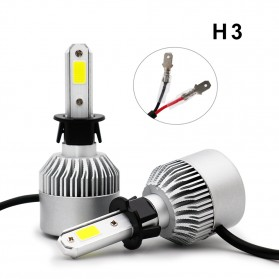 Lampu Mobil LED COB Headlight 8000LM H3 S2 Chip 2 PCS - Silver