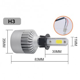 Lampu Mobil LED COB Headlight 8000LM H3 S2 Chip 2 PCS - Silver - 2