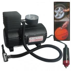 Mini Auto Air Compressor with Car Charger 12V / 250 PSI - Black
