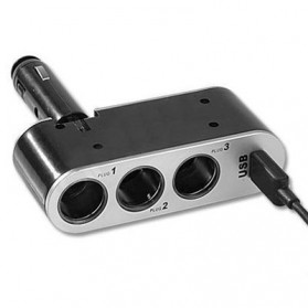Triple Socket Cigarette Mobil dengan USB Port - Black