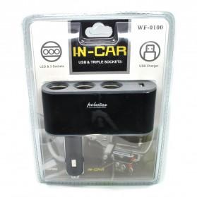 Triple Socket Cigarette Mobil dengan USB Port - Black - 2