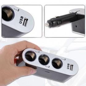 Triple Socket Cigarette Mobil dengan USB Port - Black - 4