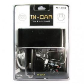 Triple Socket Cigarette Mobil dengan USB Port - Black - 5