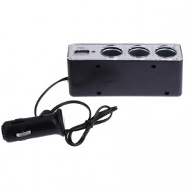 INcar Triple Socket 12V/24V Car Cigarette Lighter USB Power - WF-0096 - Black