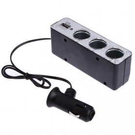 INcar Triple Socket 12V/24V Car Cigarette Lighter USB Power - WF-0096 - Black - 2