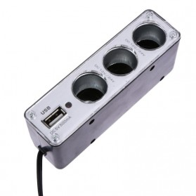INcar Triple Socket 12V/24V Car Cigarette Lighter USB Power - WF-0096 - Black - 4