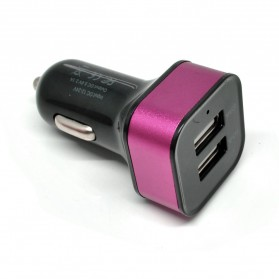 Square Head Dual USB Car Charger 2.1A - Black/Rose