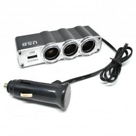 Onever Car Charger Cigarette Lighter Splitter 3 Socket with USB 24V 5A - WF-0120 - Black - 2