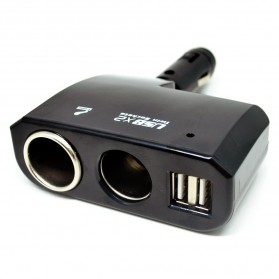 Onever Car Charger Cigarette Splitter 2 Socket with 2 USB 5V 1A - BM-035 - Black