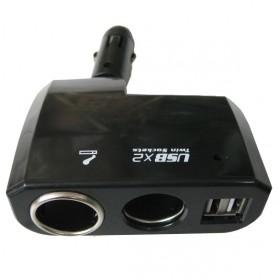 Onever Car Charger Cigarette Splitter 2 Socket with 2 USB 5V 1A - BM-035 - Black - 4