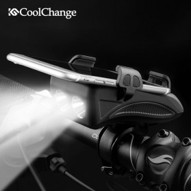 CoolChange Lampu Sepeda Rechargeable Flashlight Phone Holder Power Bank 2000mAh - FY-319 - Black