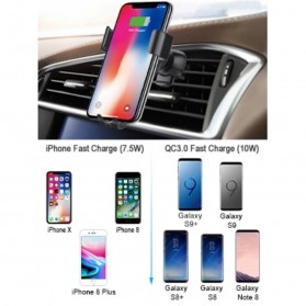 CHOECTECH Car Wireless Charger Fast Charging Air Vent Mount - T536-S - Black - 6