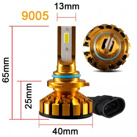 Mobil - PHELENSEYE Lampu Mobil Headlight LED 9005 DOB 80W 5000 Lumens 2 PCS - Golden