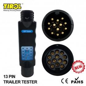 Tirol 13 Pin Trailer Tester Towing Trailer Car Caravan 12V for Plug Socket Connection - T23331 - Black